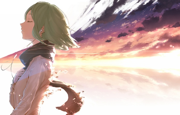 Picture the sky, girl, clouds, sunset, wire, anime, headphones, art, vocaloid, gumi, minamito