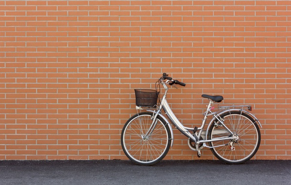 Picture bike, wall, mood, stay, silver, Parking, front, bike, brick, wallpaper., city, basket, beautiful background, beautiful ...