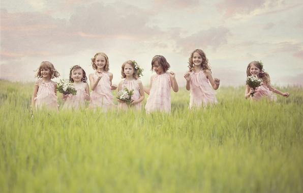 Picture field, joy, flowers, children, girls