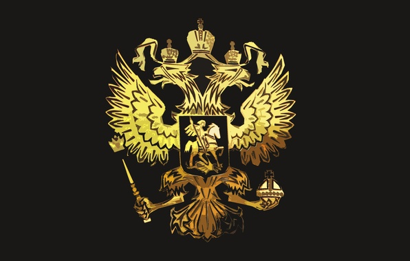 Picture Black, Eagle, Background, Coat of arms, Russia