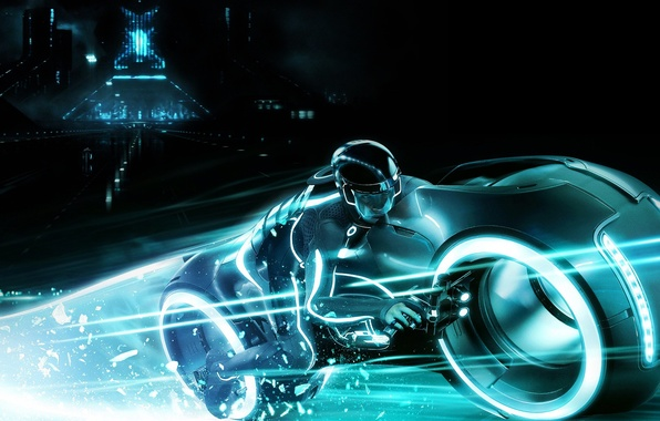 Picture dude, neon, tron 2, a light motorcycle