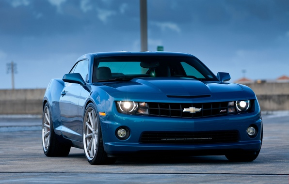 Picture blue, reflection, Chevrolet, chevrolet, blue, the front, headlights, camaro ss, tinted, Camaro SS