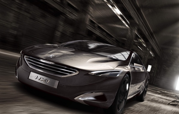 Picture grey, speed, concept, hangar, the concept, Peugeot, the front, peugeot, interesting design, hx1