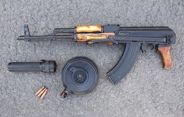 Picture weapons, background, Kalashnikov, Machine, cartridges, shop, muffler, Kalashnikov, AKMS
