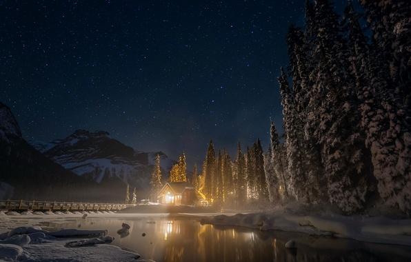 Picture winter, forest, the sky, stars, snow, trees, mountains, night, lights, lake, Canada, house, Emerald Lake