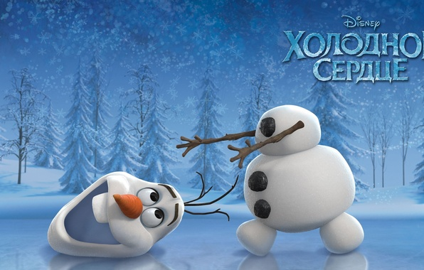 Picture winter, snow, joy, cartoon, laughter, ice, the situation, carrot, snowman, Frozen, tree, snowflake, disney, Olaf, …