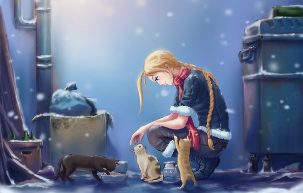 Picture girl, snow, cats, the city, street, milk, art, Cammy, Street Fighter