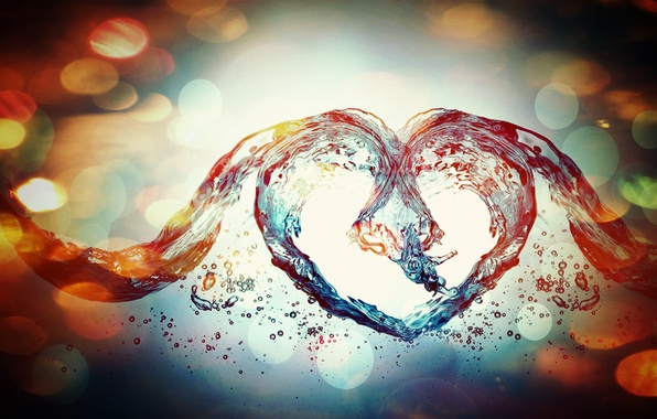 Picture water, love, blue, heart, abstract, love, colourful, effects, heart, blue, water, abstract, colorful, effects