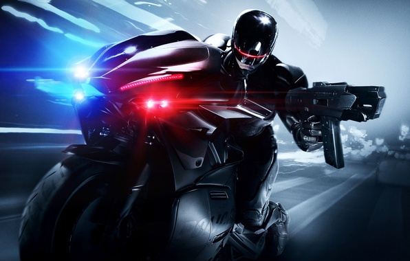 Picture Bike, RoboCop, Movie, 2014, Joel Kinnaman, Cop, Robo