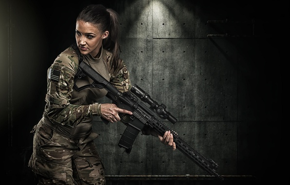 Picture girl, face, weapons, camouflage, assault rifle
