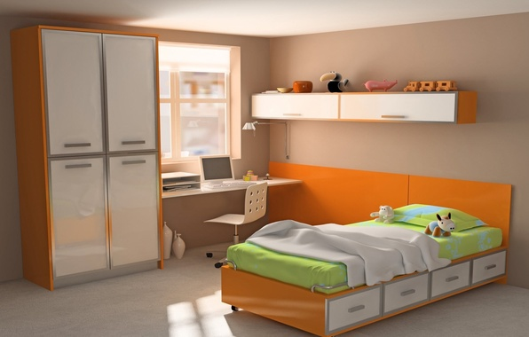 Picture computer, orange, design, style, table, room, toys, bed, interior, wardrobe, bright, apartment, colorful