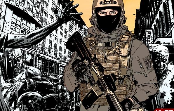 Picture zombie, Ghost, Gun, COD, usa, marines, modern warfare, apocalypse, KLGR, KILLGORE, haos, Strikeball, LWRC, Air-soft