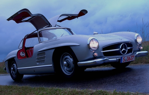 Wallpaper 300 Wet Gullwing Mercedes Benz Mercedes