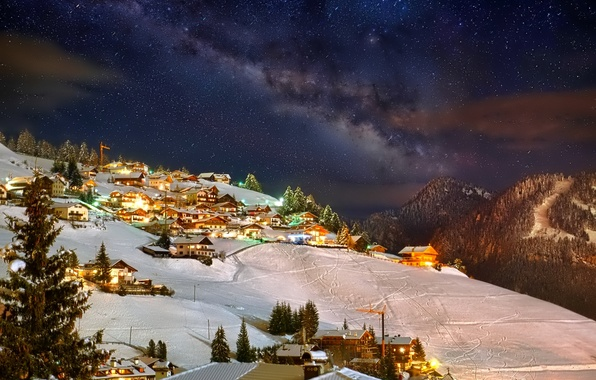 Picture winter, the sky, stars, snow, mountains, night, lights, home, town, resort