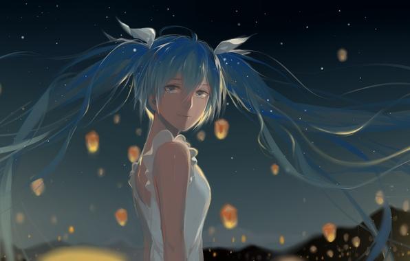 Picture girl, art, bows, vocaloid, hatsune miku, lanterns, Vocaloid, rrr, 627470487