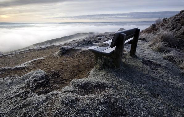 Picture landscape, mountain, bench