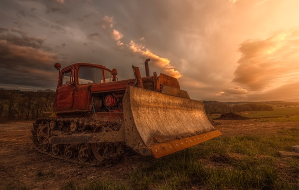Picture field, technique, dirt, hdr, bulldozer, excavator, construction, grader