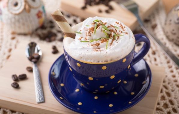Picture foam, coffee, chocolate, grain, cream, Cup, tube, drink, blue, cappuccino, waffle