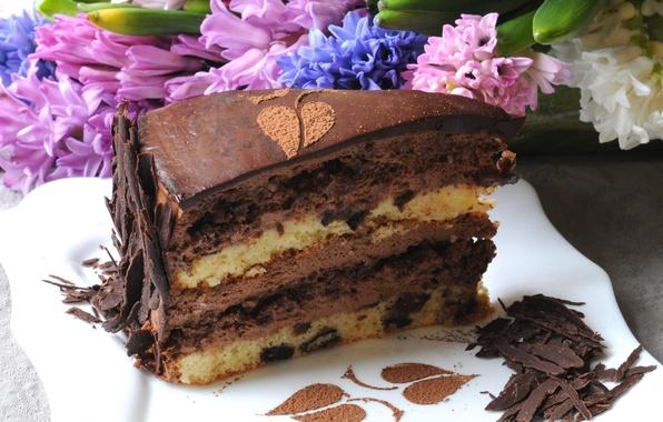 Picture flowers, chocolate, cake, cream, dessert, piece