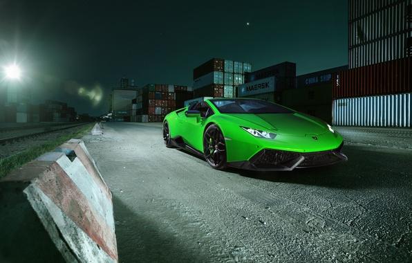 Picture machine, light, Lamborghini, the hood, lantern, green, Spyder, the front, containers, Novitec, Torado, Huracan