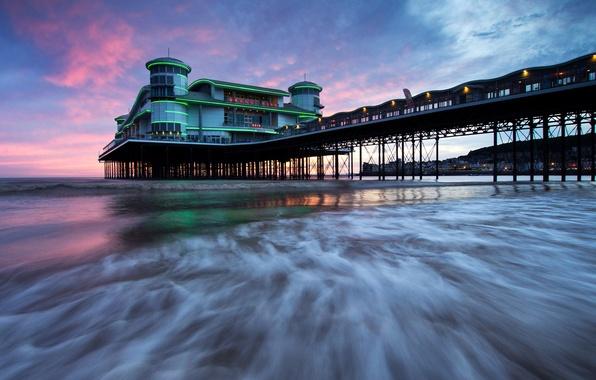 Picture sea, the sky, clouds, shore, England, pierce, glow, Weston-super-Mare, Somerset, Grand Pier