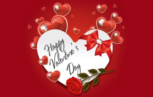 Picture heart, diamonds, hearts, love, rose, bow, heart, romantic, Valentine's Day, Happy