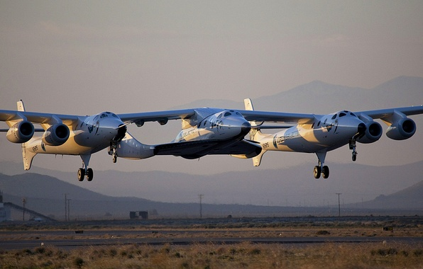 Picture mountains, the plane, landing, VSS Enterprise