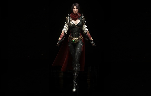 Picture look, girl, rendering, weapons, black background, Assassin
