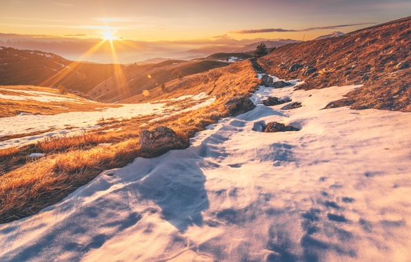 Picture grass, snow, mountains, fog, rocks, the evening, grass, mountains, rocks, snow, evening, fog