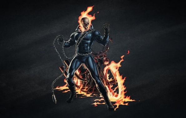 Picture the dark background, fire, skull, chain, skeleton, motorcycle, Ghost Rider, Ghost rider, bike