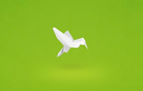 Picture paper, bird, minimalism, Hummingbird, origami