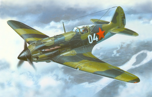 Picture the sky, figure, fighter, the plane, Soviet, tall, times, The second world war, The MiG …
