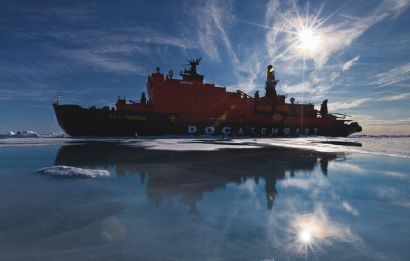 Picture The sun, The sky, Sea, Ice, Icebreaker, The ship, Mosh, Cold, 50 years of Victory, …