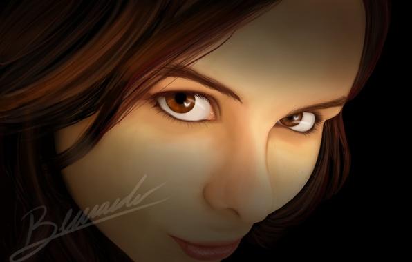 Picture look, girl, smile, art, brown eyes, axt234