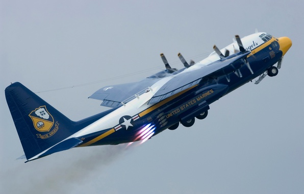 Picture the plane, group, large, USA, BBC, Lockheed C-130 Hercules, flight., Blue Angels, transport, military, created, …