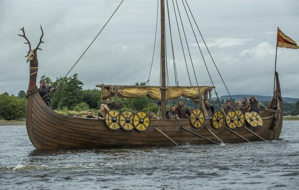 """Photo wallpaper the series, Vikings, The Vikings, """"ship-dragon"""", Drakkar, sailors"""