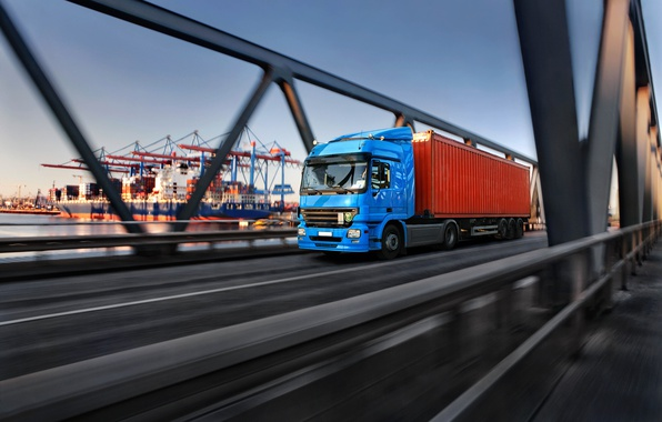 Picture road, bridge, blur, port, car, bokeh, tractor, cargo, wallpaper., euro truck, van trailer truck, shipping ...