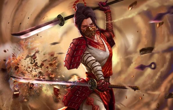 Picture girl, face, mask, samurai, swords, Bayushi Brain