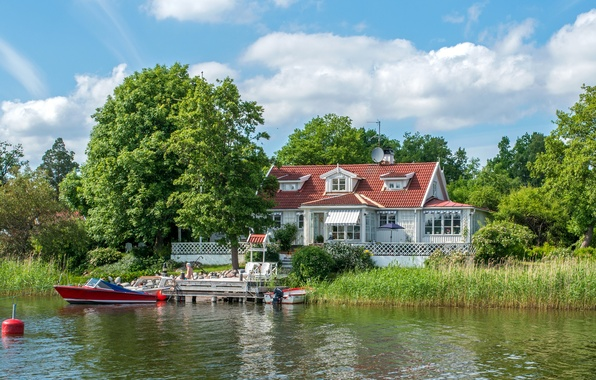 Picture clouds, trees, house, river, the reeds, shore, boats, pier, Sweden, Vaxholm