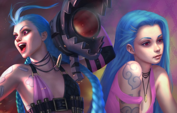 Picture girl, art, blue hair, League of Legends, jinx, Loose Cannon, moba