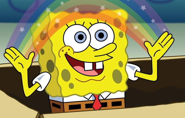 Picture rainbow, sponge, spongebob, the animated series