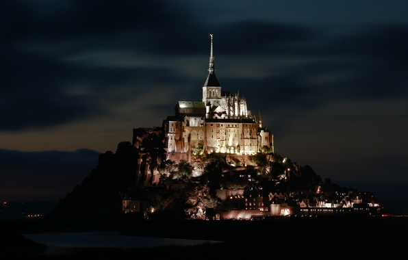 Picture night, lights, France, backlight, Normandy, Mont-Saint-Michel, rocky island