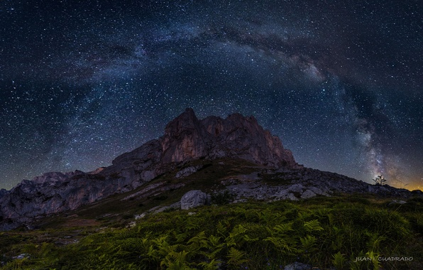 Picture the sky, stars, night, rock, mountain, the milky way