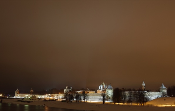 Picture winter, the sky, snow, night, the city, river, wall, tower, the Kremlin, tower, dome, Novgorod, …