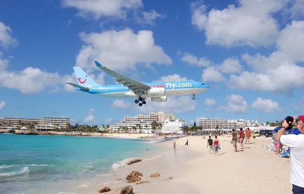 Picture beach, photo, the plane, Maho Beach, St Maarten