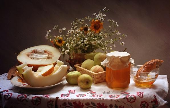 Picture flowers, apples, bouquet, honey, still life, pear, melon, bagel