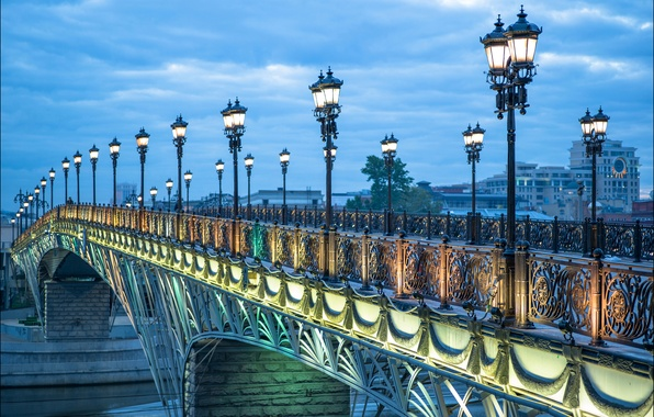 Picture bridge, lights, river, the evening, lights, Moscow, Russia, The Patriarchal bridge