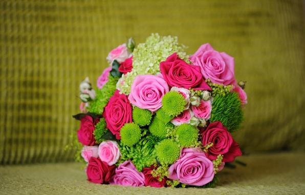Picture greens, flowers, roses, bouquet, pink