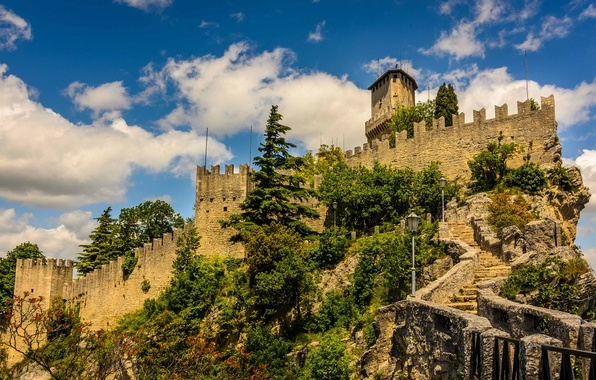 Picture the sky, clouds, trees, tower, fortress, San Marino, enclave