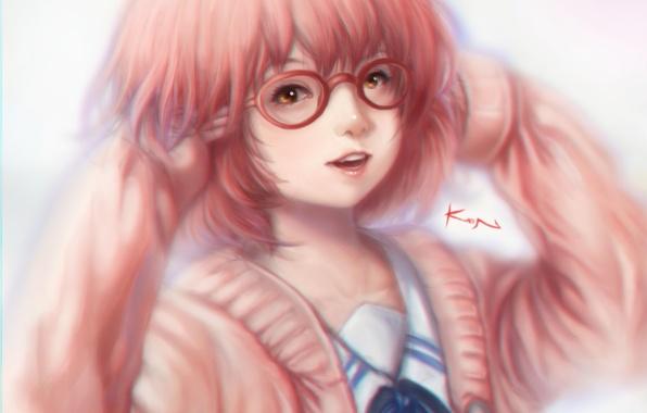 Picture girl, smile, anime, art, glasses, Kyoukai no Kanata, mirai kuriyama, kwonchanji, kuon